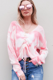 And the Why Tie Dye Cinch front Sweater - Product Mini Image
