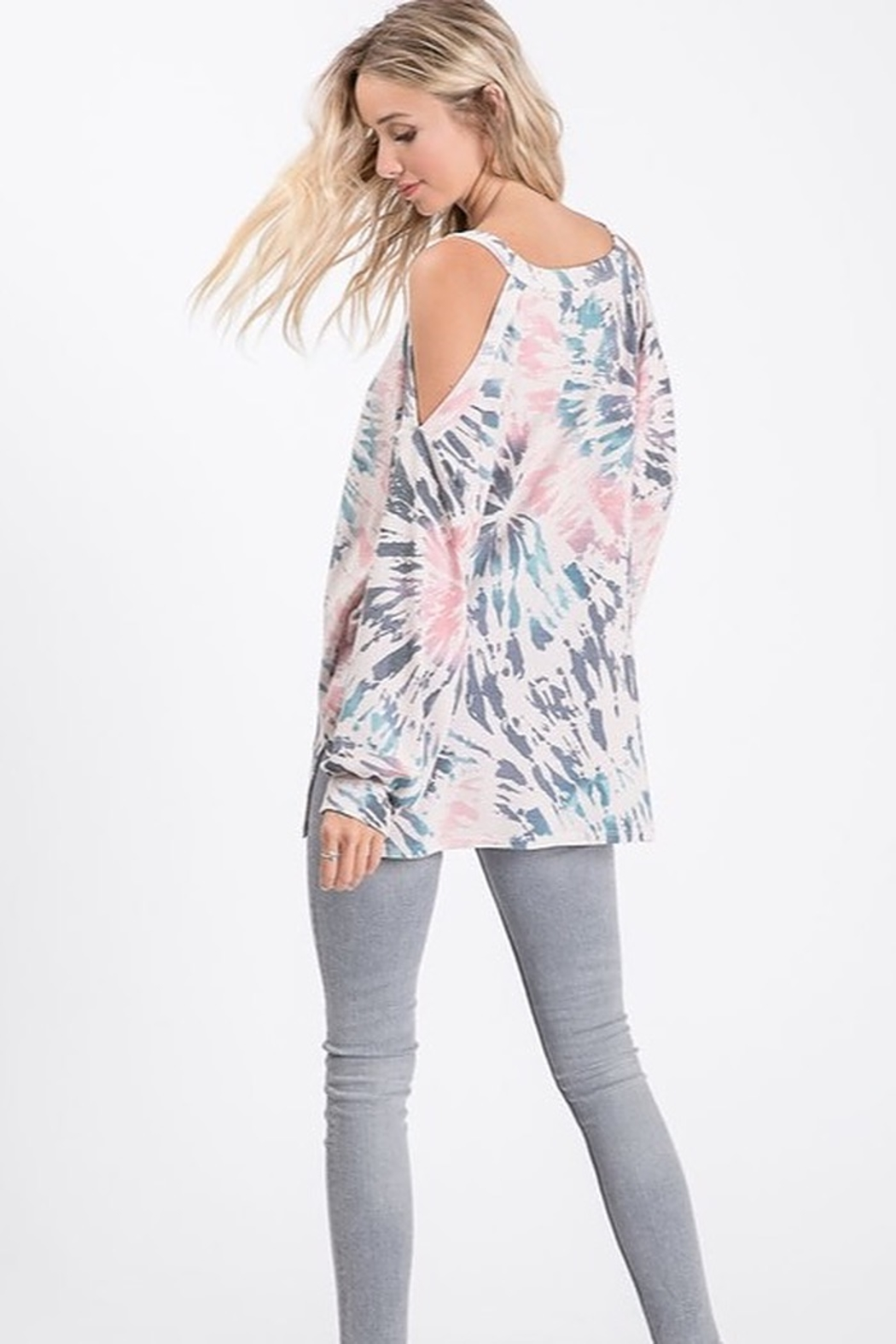 Bibi Tie Dye Cold Shoulder Terry Top with Balloon Sleeves - Front Full Image
