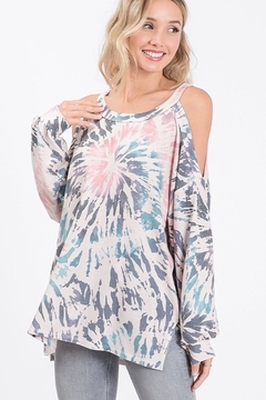 Bibi Tie Dye Cold Shoulder Terry Top with Balloon Sleeves - Product List Image