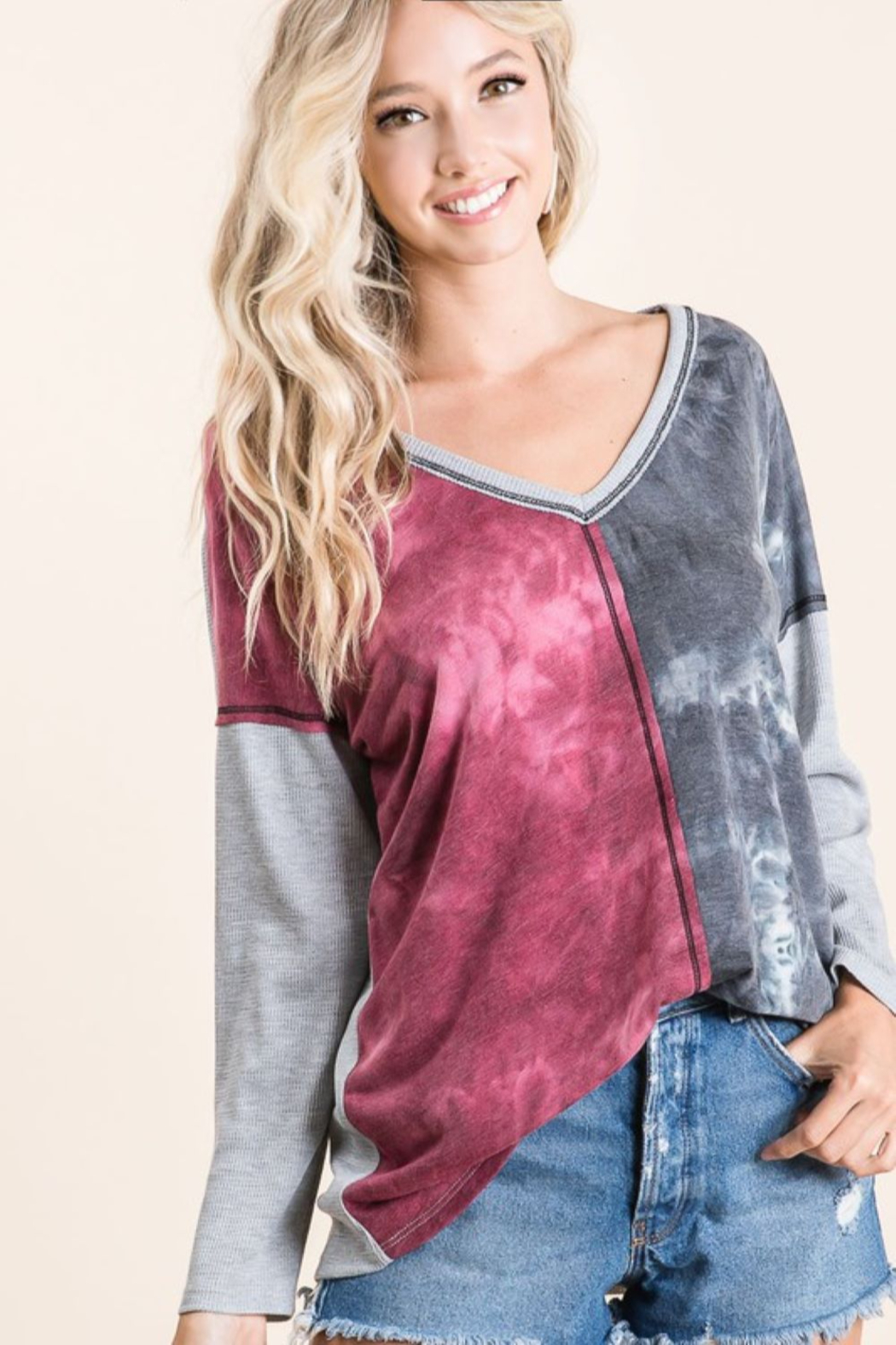 Bibi Tie Dye Color Block Top with Contrast Details - Front Cropped Image