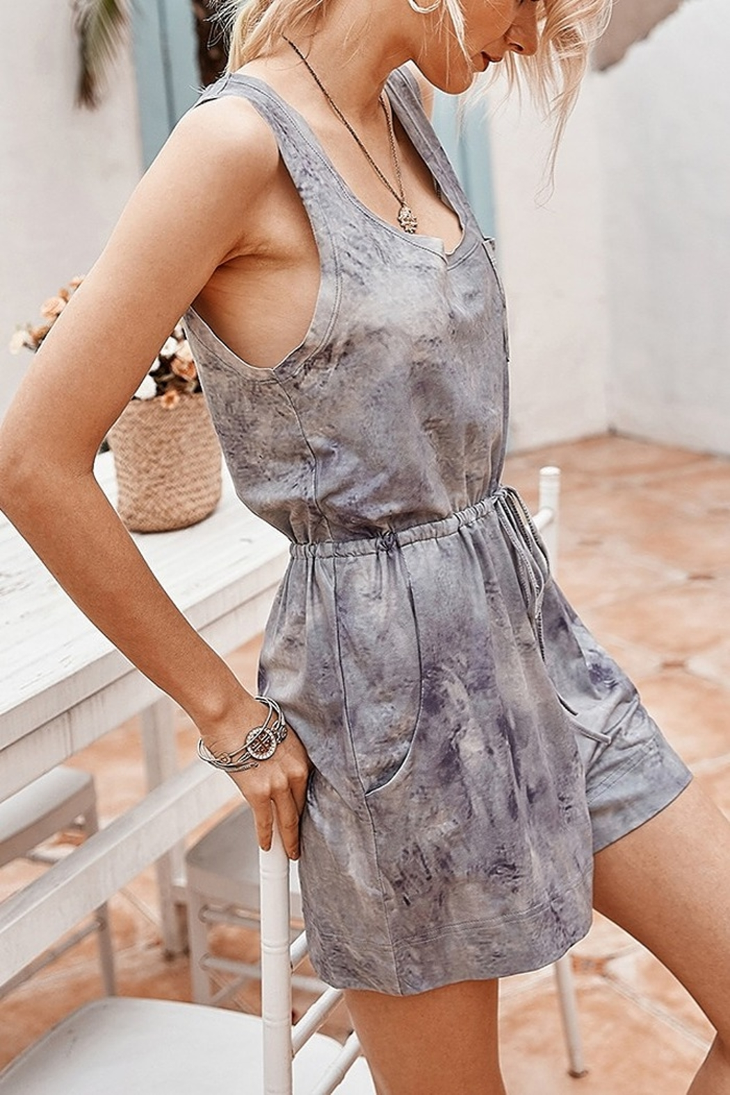Lyn-Maree's  Tie Dye Comfy Romper - Front Cropped Image