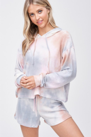 Phil Love Tie Dye Comfy Short & Hoodie Set - Front cropped
