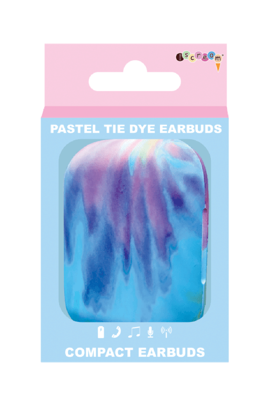 Isceam Tie Dye Compact Ear Buds - Back Cropped Image