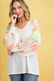 143 Story Tie Dye Contrast Bubble Sleeve Waffle Top - Product Mini Image