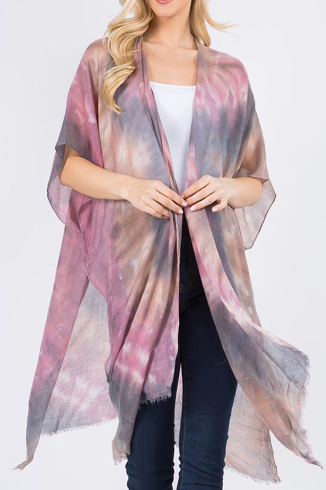 L.I.B. New York Tie-Dye Cover Up/Kimono - Front Cropped Image