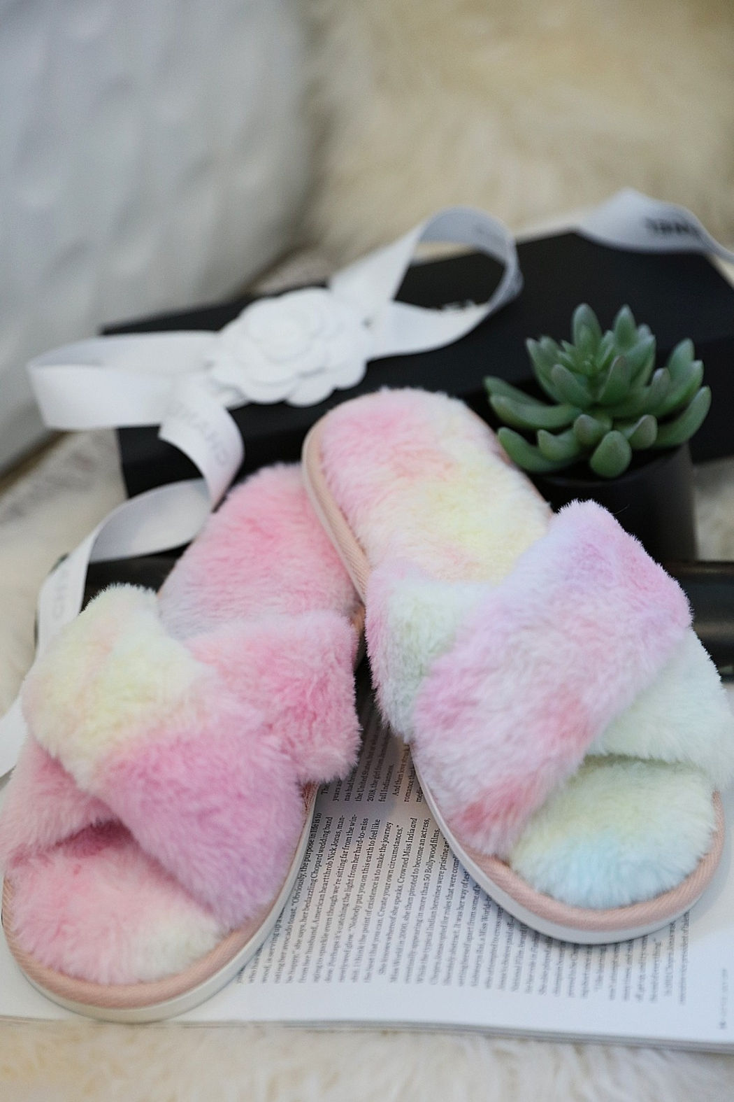 Wanna B Tie Dye Cozy Criss Cross Slippers - Main Image