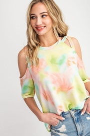 143 Story Tie Dye Criss Cross Shoulder Detail Top - Product Mini Image