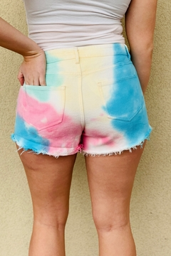Peach Love California Tie Dye Denim Shorts - Alternate List Image