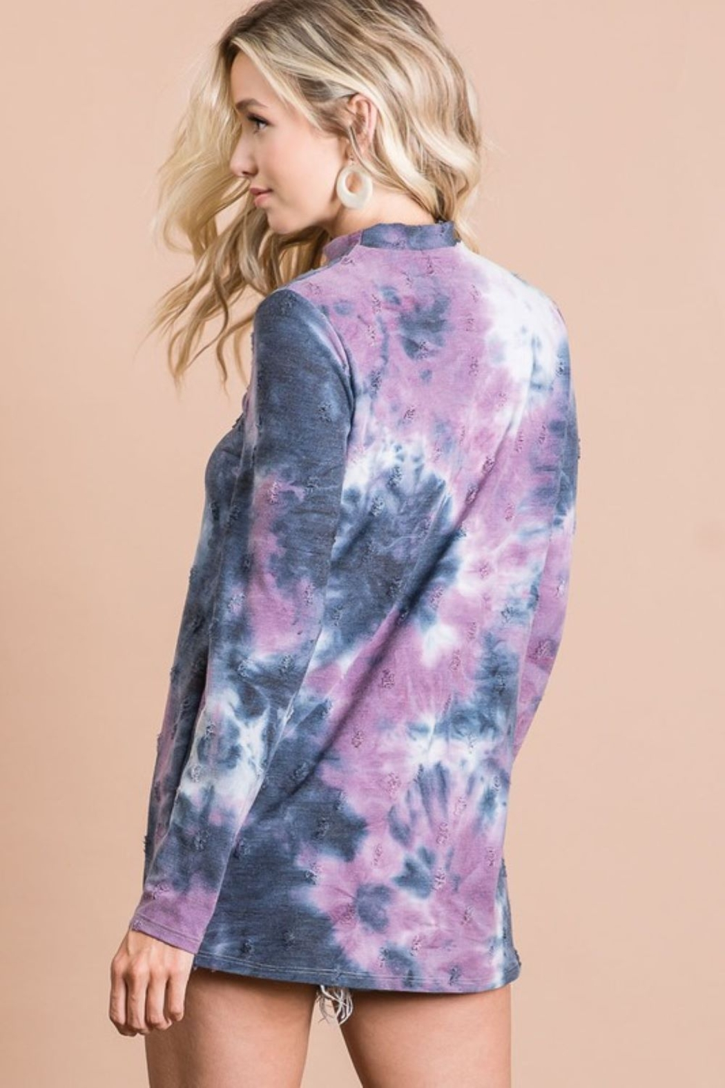 Bibi Tie Dye Distressed Knit Top with Front Neck Cut Out - Side Cropped Image