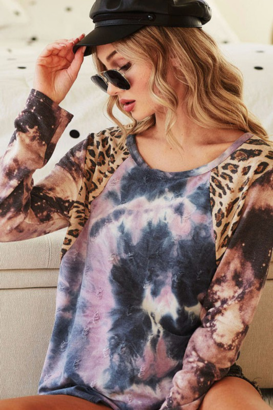 Bibi Tie Dye Distressed Knit Top with Leopard Shoulder - Front Full Image