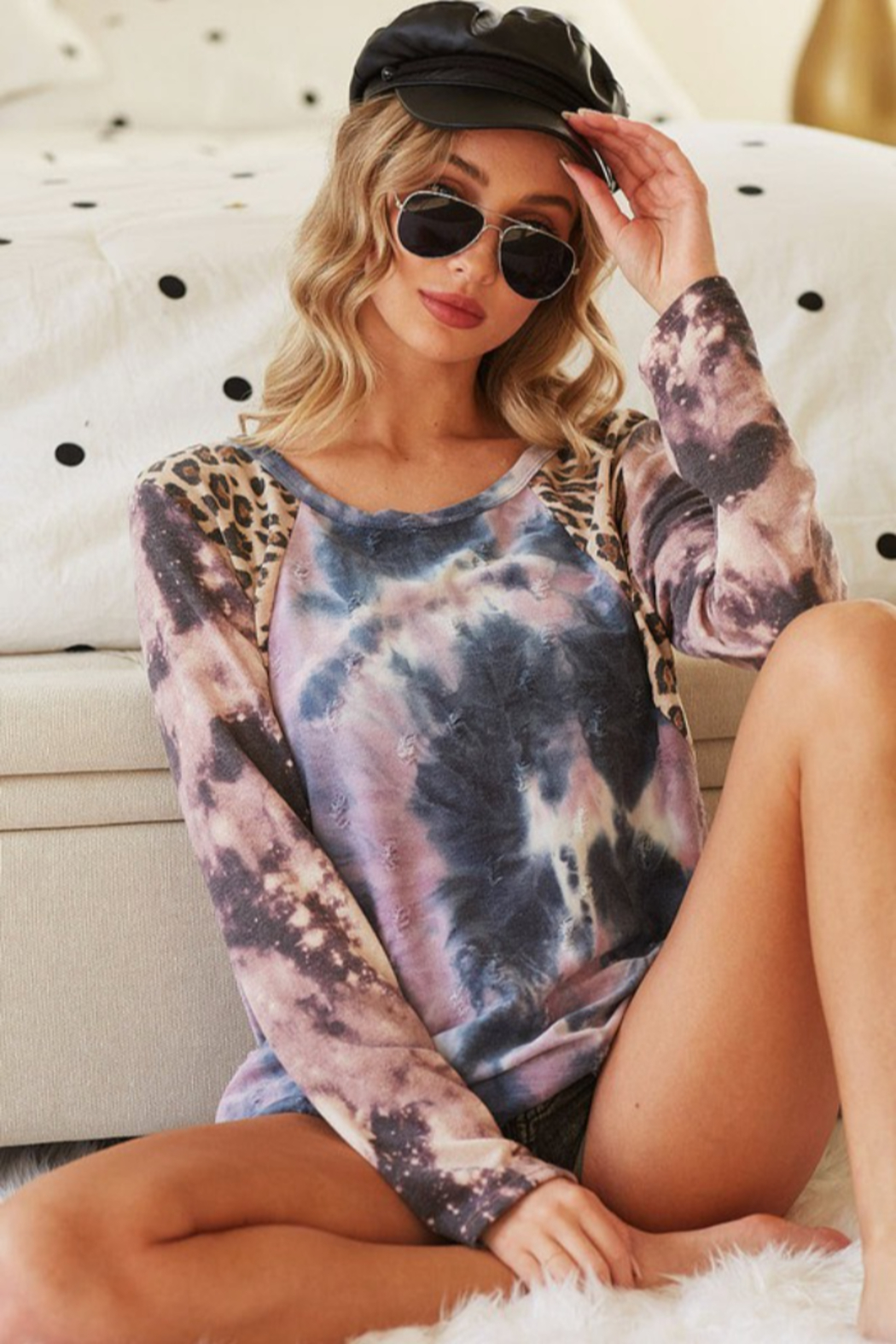 Bibi Tie Dye Distressed Knit Top with Leopard Shoulder - Side Cropped Image