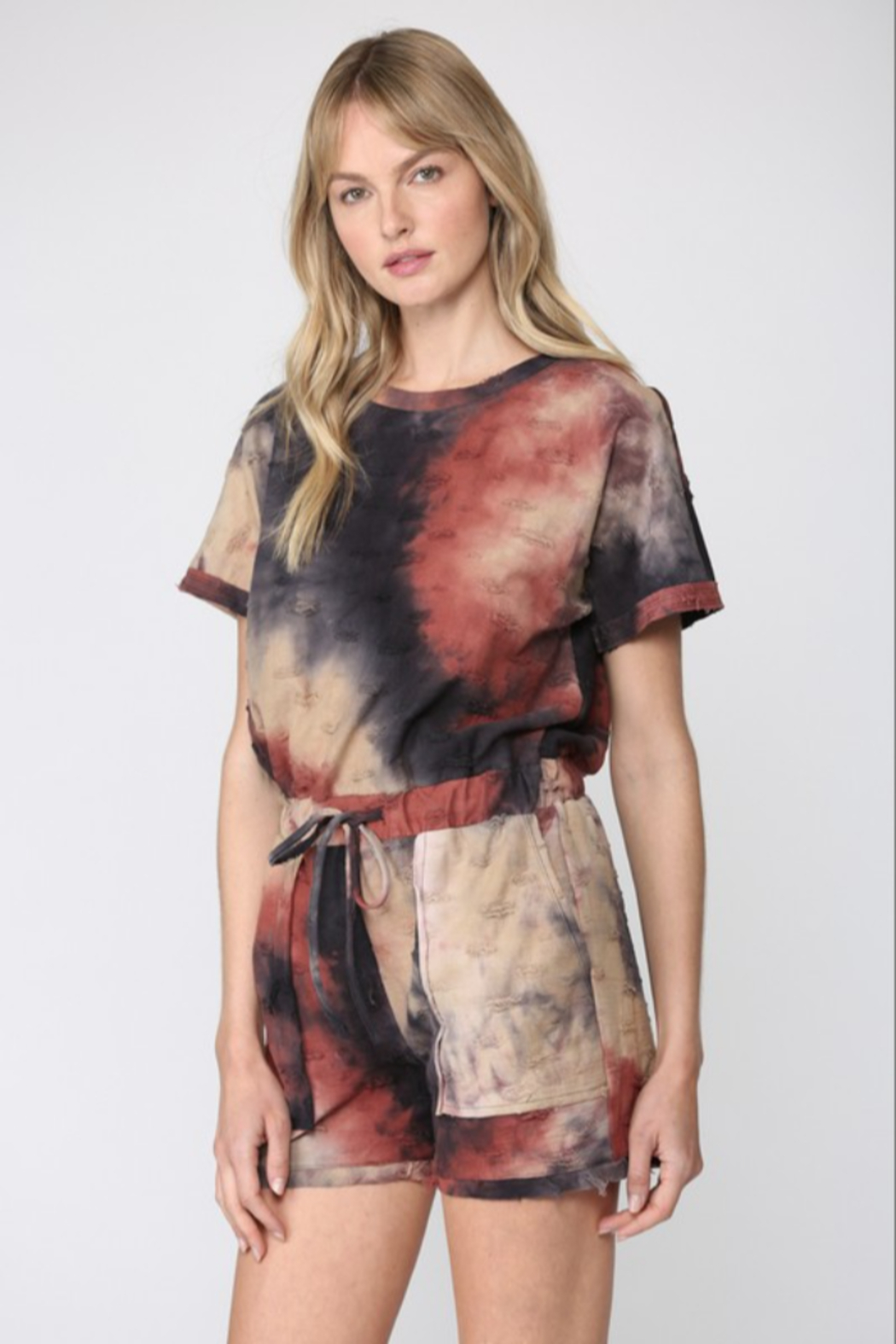 Fate  Tie Dye Distressed Romper - Front Full Image