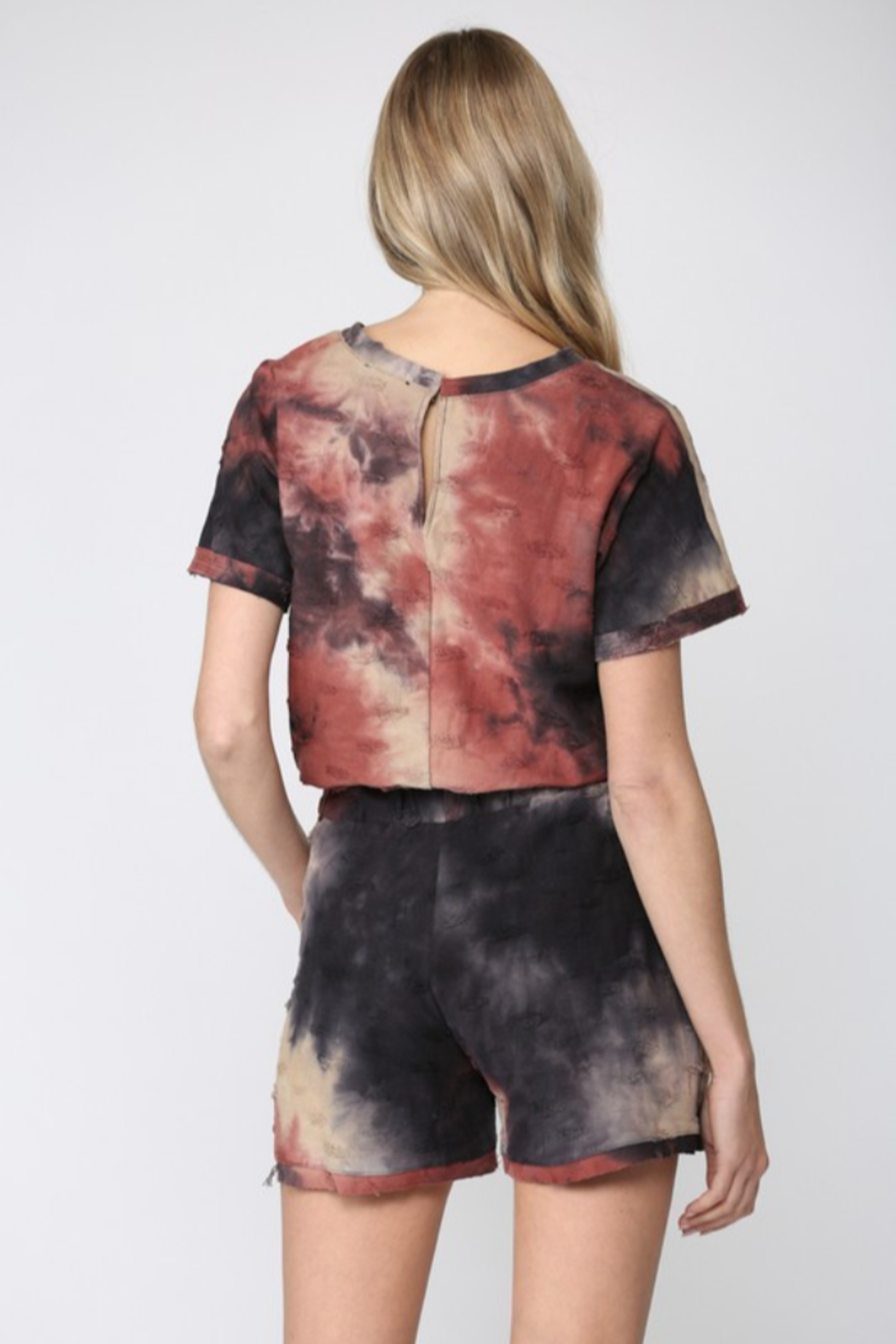 Fate  Tie Dye Distressed Romper - Side Cropped Image