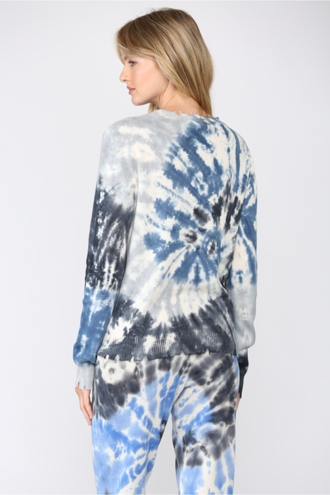 Fate Tie Dye Distressed Sweater - Front Full Image
