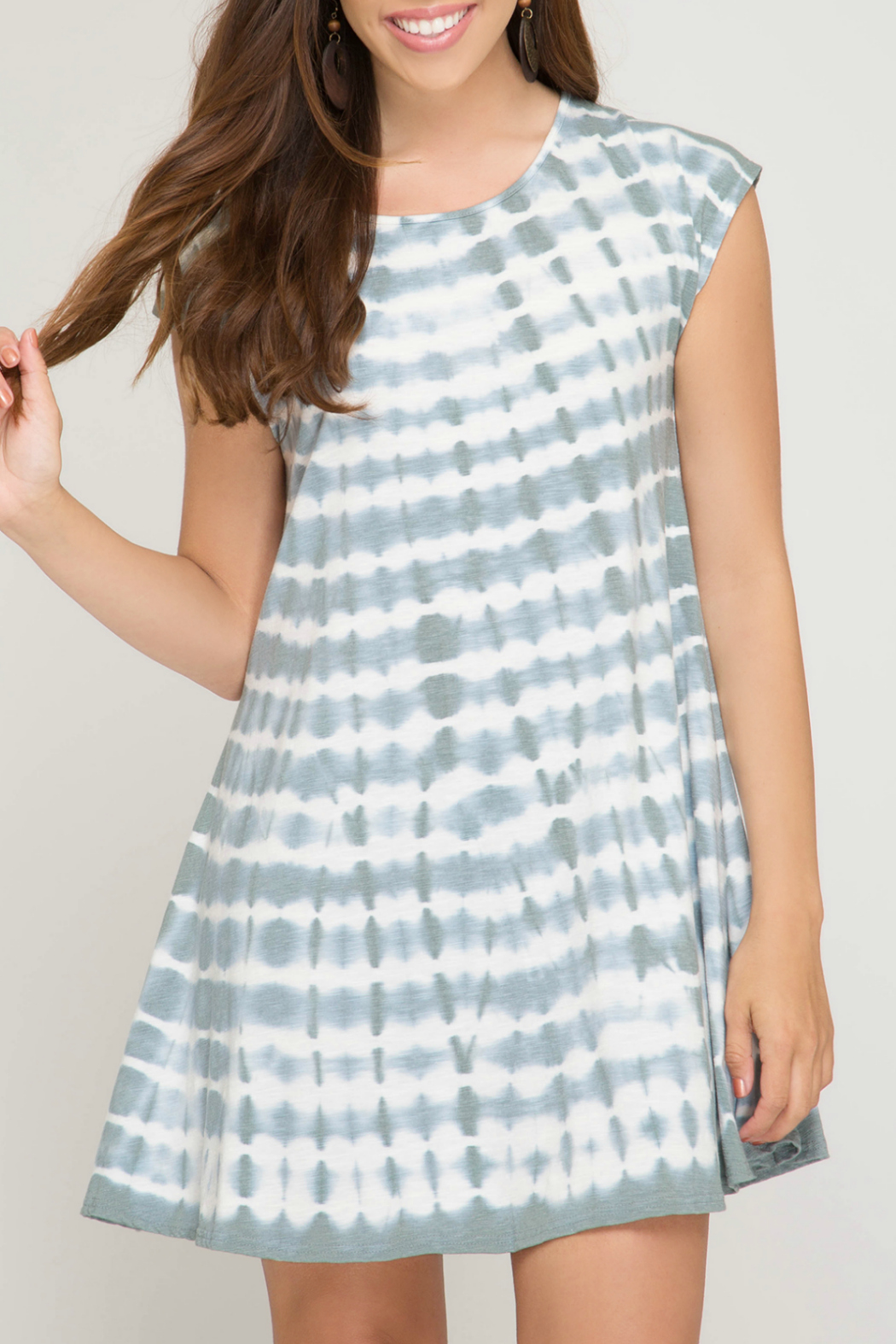 She + Sky Tie Dye Dress w Back Strap Detail - Main Image