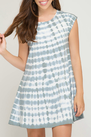 She + Sky Tie Dye Dress w Back Strap Detail - Front cropped