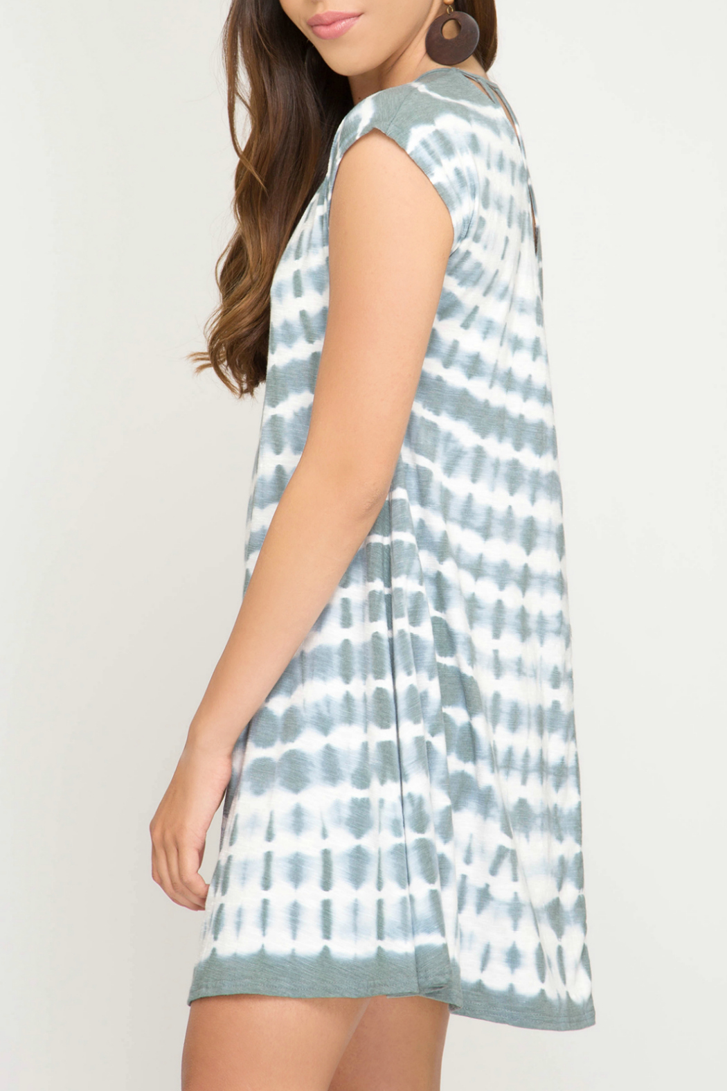 She + Sky Tie Dye Dress w Back Strap Detail - Side Cropped Image