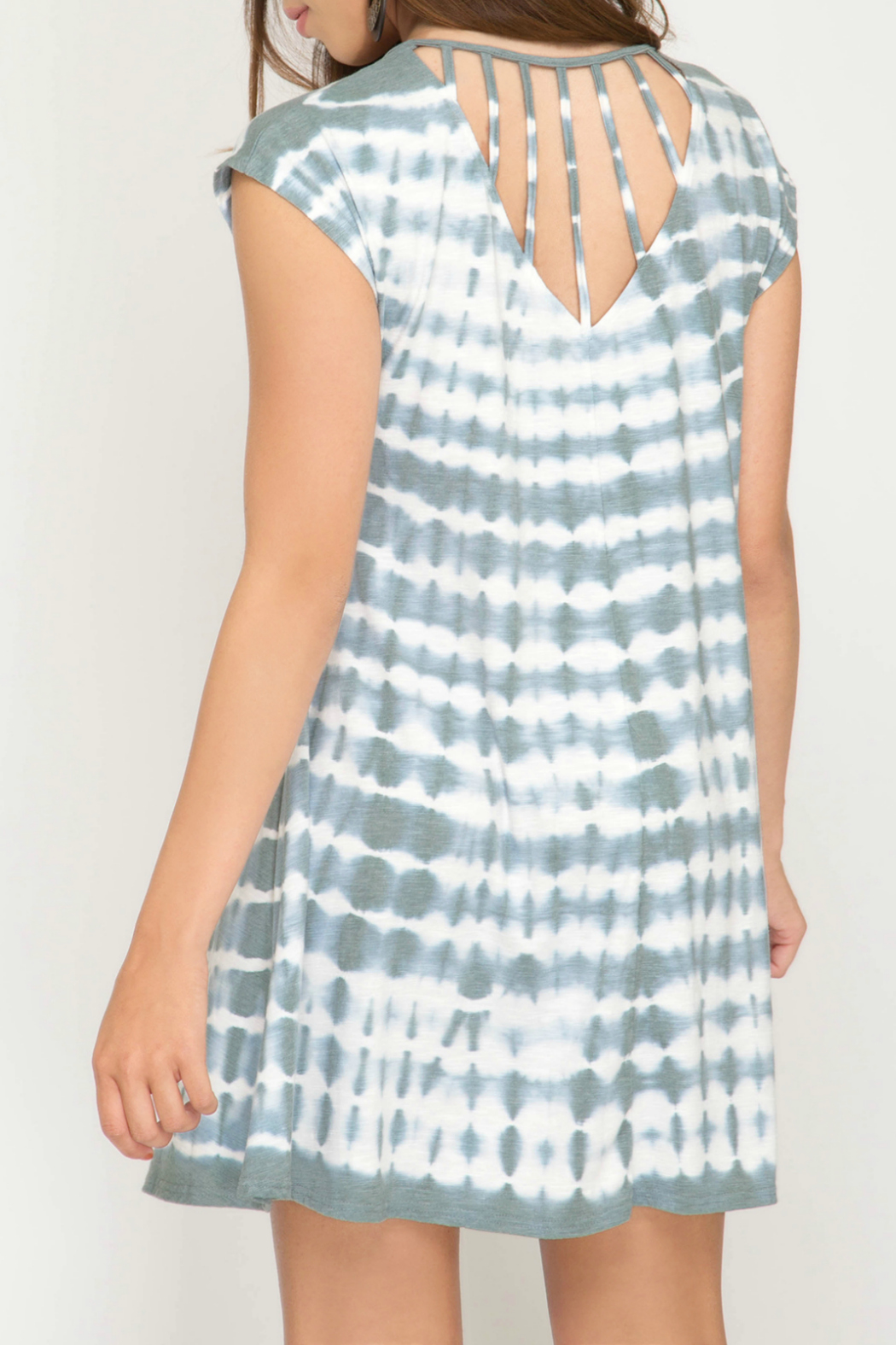 She + Sky Tie Dye Dress w Back Strap Detail - Front Full Image