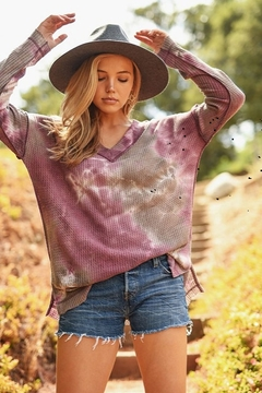 First Love Tie Dye Dropped Shoulder Long Sleeve Top - Product List Image