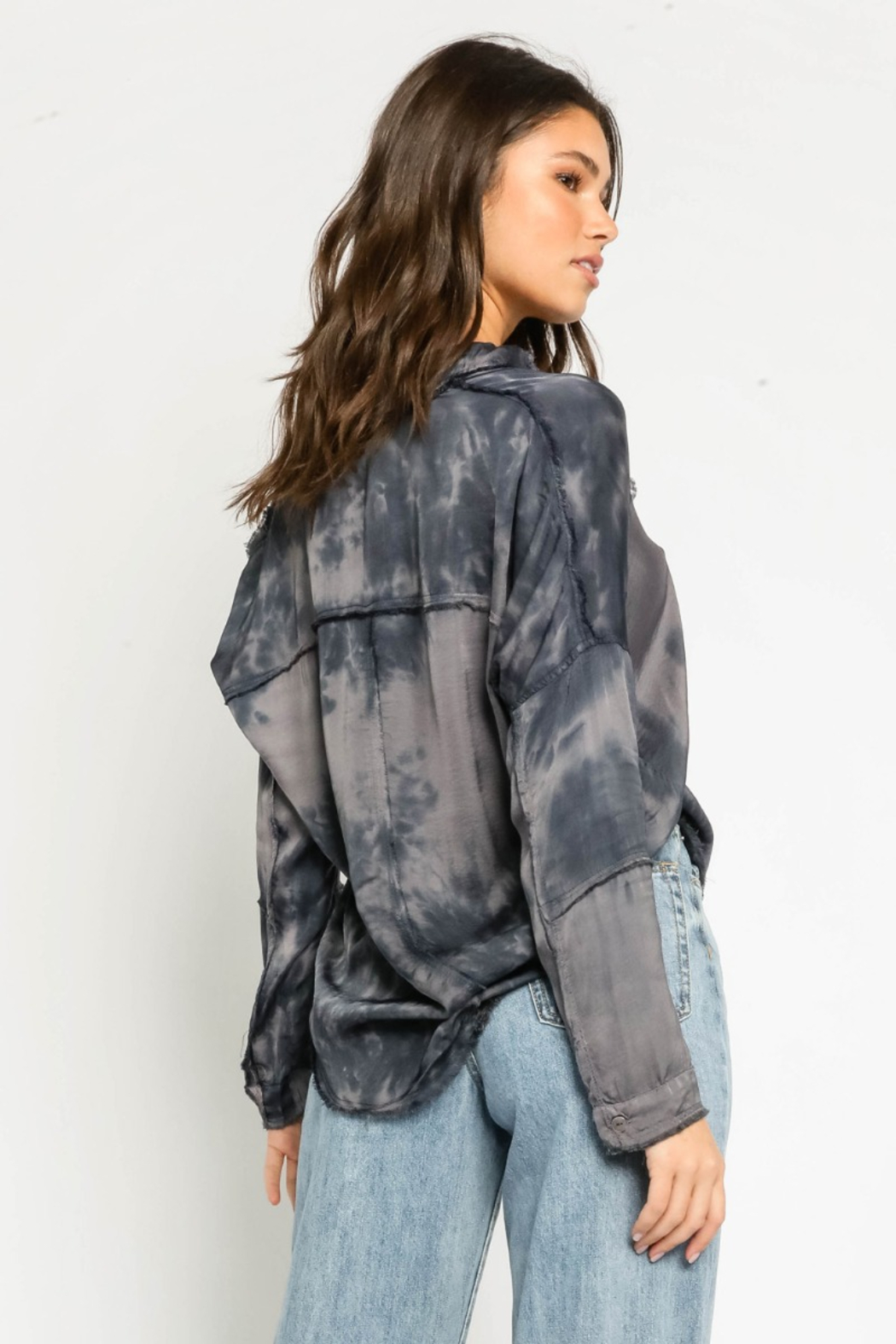 Olivaceous  Tie Dye Frayed Shirt - Front Full Image