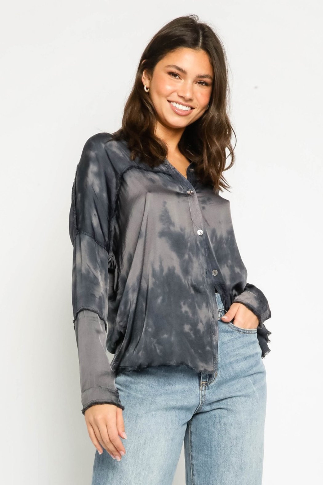 Olivaceous  Tie Dye Frayed Shirt - Main Image