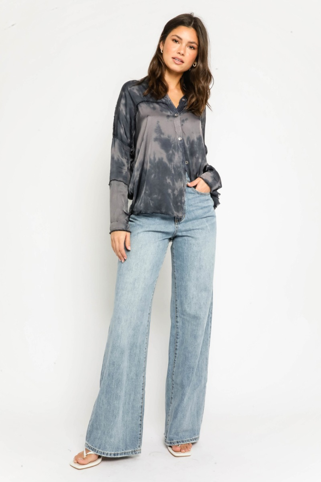 Olivaceous  Tie Dye Frayed Shirt - Side Cropped Image