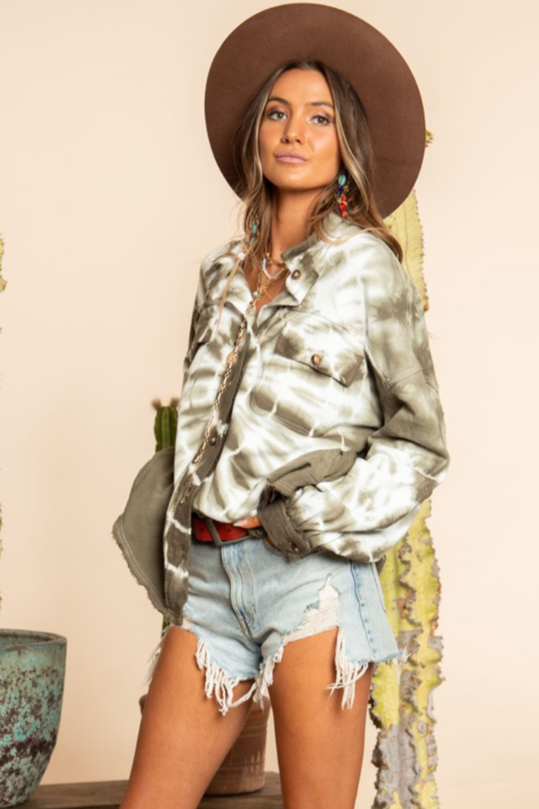 Blue Buttercup Tie Dye French Terry Button Down Shirt - Side Cropped Image