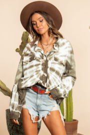 Blue Buttercup Tie Dye French Terry Button Down Shirt - Front full body