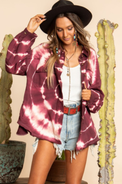 Blue Buttercup Tie Dye French Terry Button Down Shirt - Product List Image