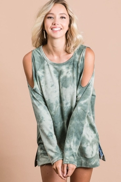 Bibi Tie Dye French Terry Cold Shoulder Top - Alternate List Image
