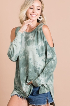 Bibi Tie Dye French Terry Cold Shoulder Top - Product List Image