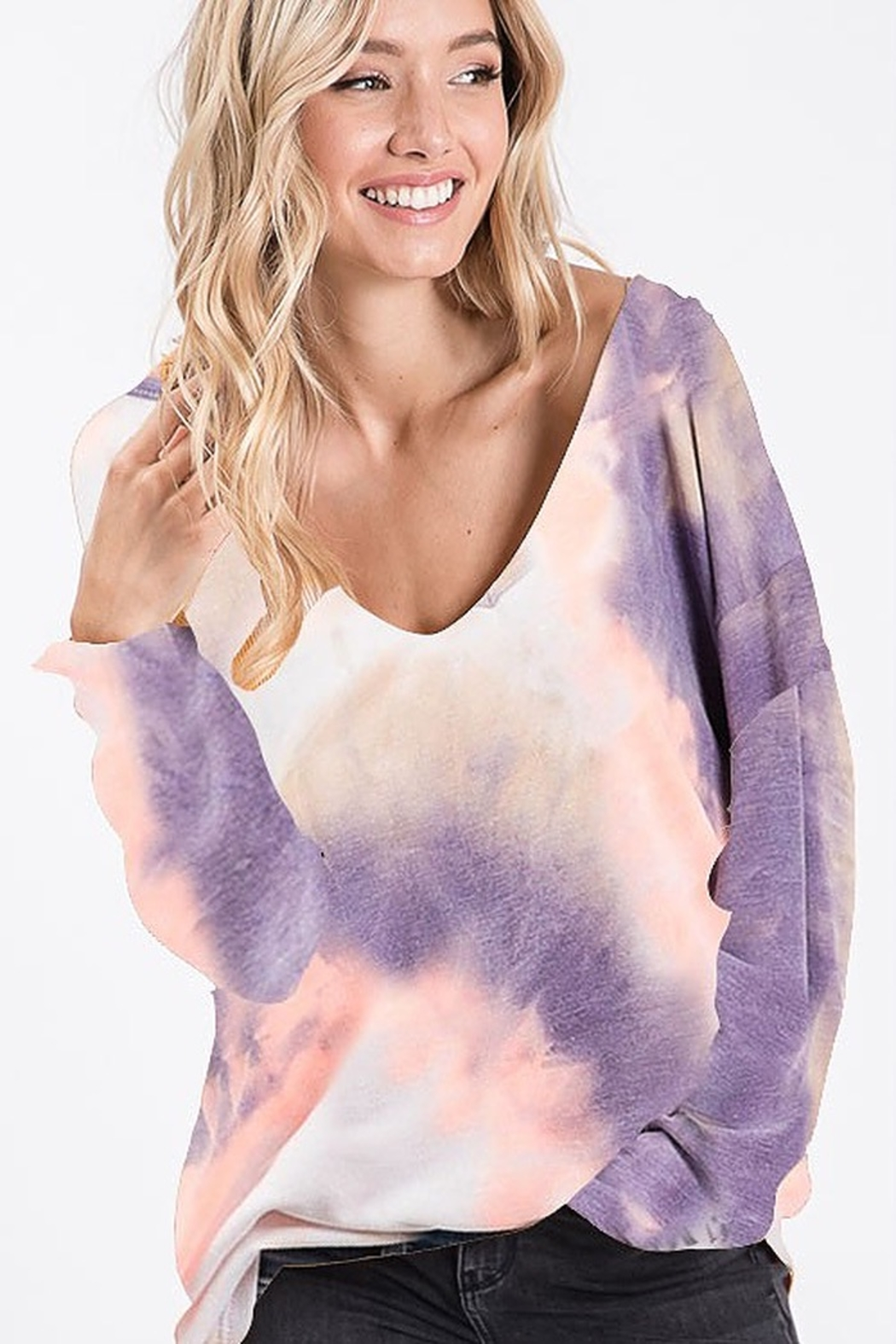 Bibi TIE DYE FRENCH TERRY KNIT TOP - Front Full Image