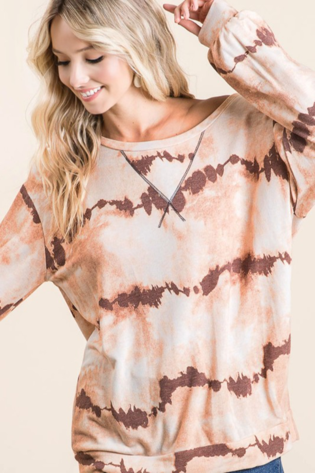 Bibi Tie Dye French Terry Pull Over - Front Cropped Image