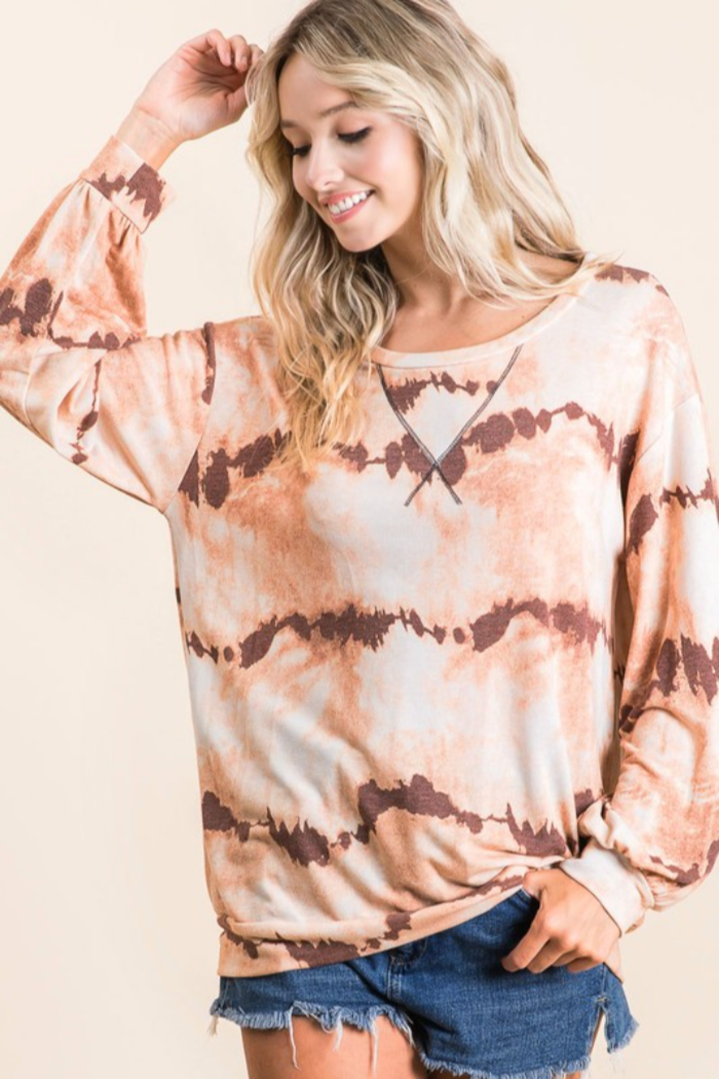 Bibi Tie Dye French Terry Pull Over - Front Full Image