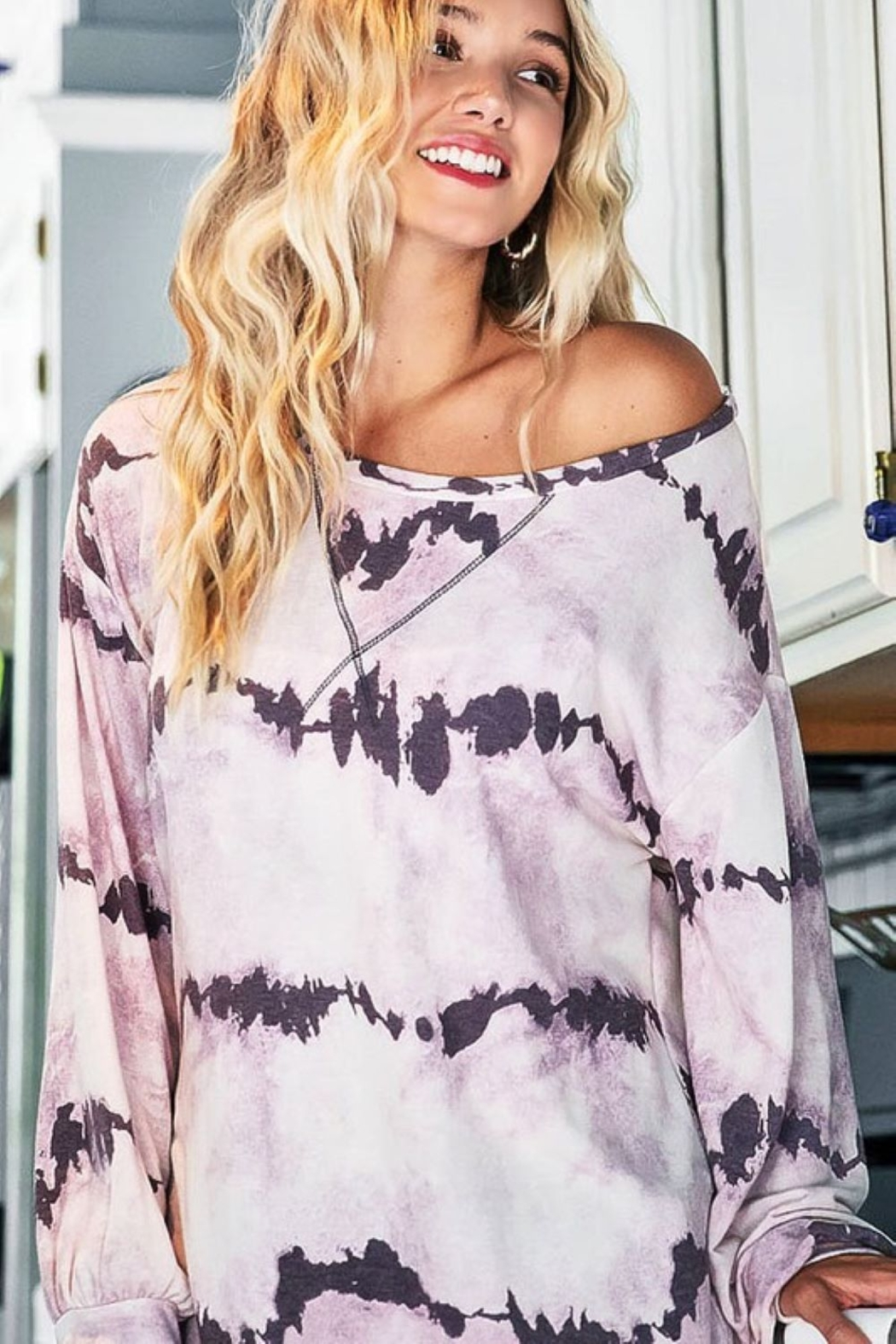 Bibi Tie Dye French Terry Pull Over - Main Image