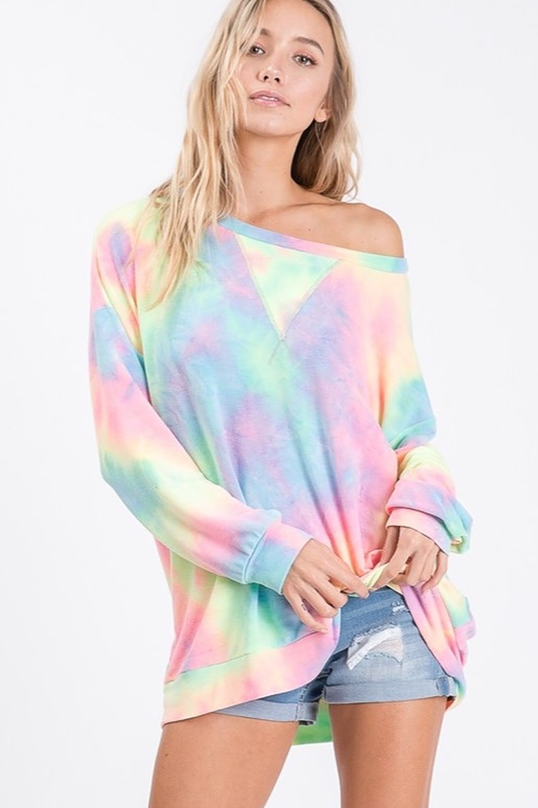 Bibi Tie Dye French Terry Pull Over Shirt - Front Cropped Image
