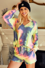 Bibi Tie Dye French Terry Top and Bottom Set - Front full body