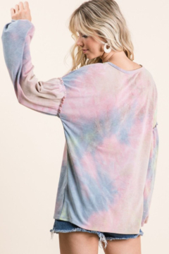 Bibi Tie Dye French Terry Top With Bubble Sleeves - Alternate List Image