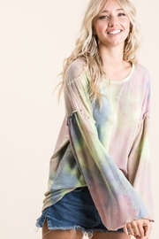 Bibi Tie Dye French Terry Top With Bubble Sleeves - Product Mini Image
