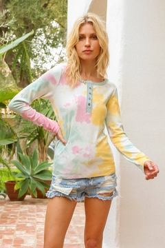 Hem and Thread Tie Dye Henley Neck Top - Product List Image