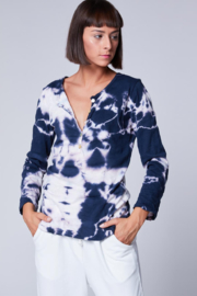 Baci Tie Dye Henley Top - Front cropped