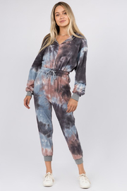 Whiteroom Cactus Tie Dye Hooded Zip Jumpsuit - Product Mini Image