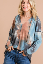 Bibi Tie Dye Hoodie with Contrast Stitching - Front cropped