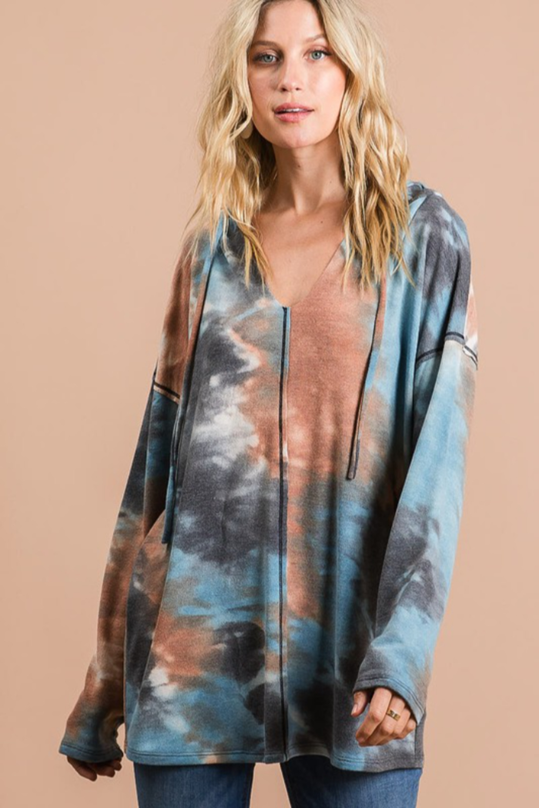 Bibi Tie Dye Hoodie with Contrast Stitching - Front Full Image