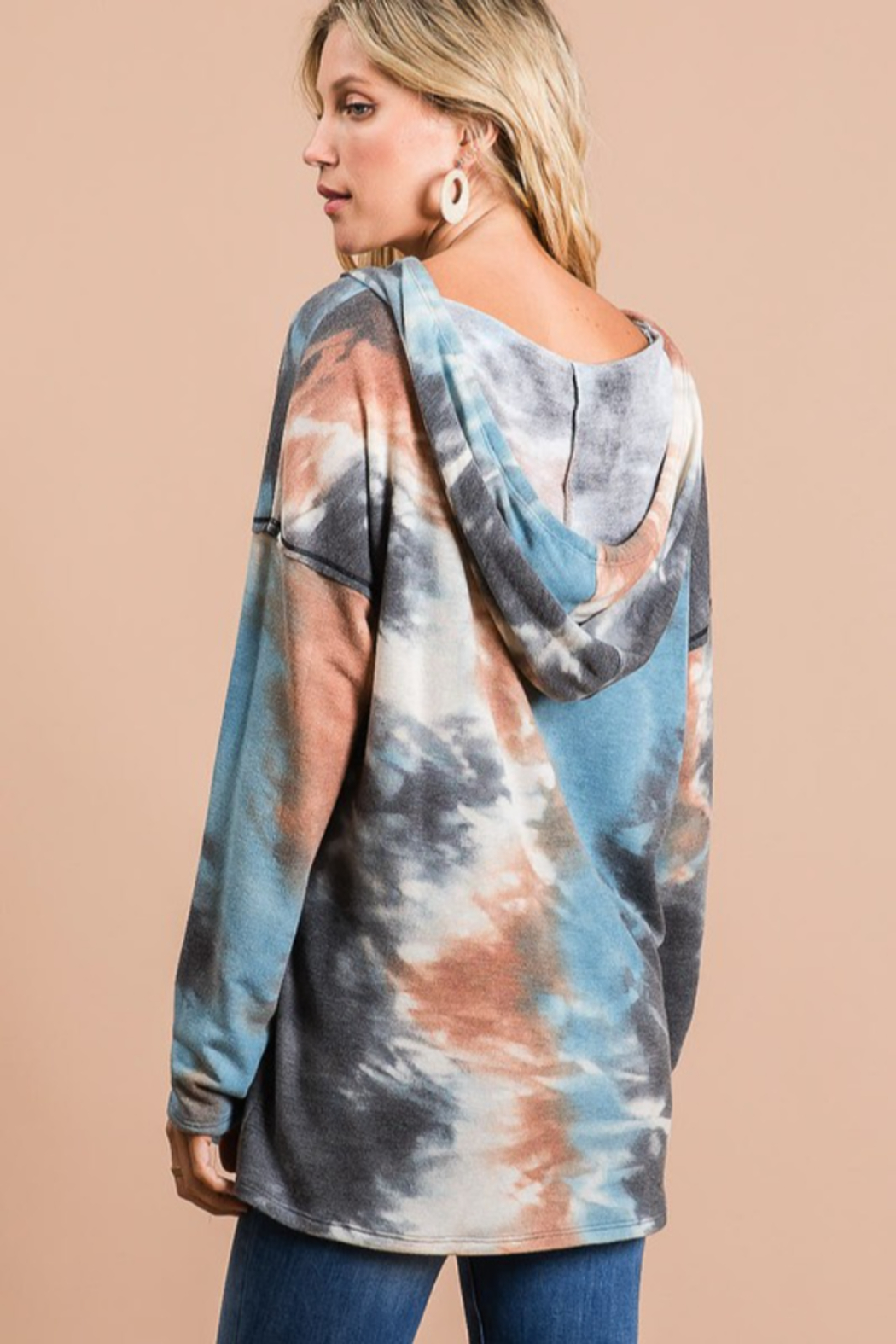 Bibi Tie Dye Hoodie with Contrast Stitching - Side Cropped Image