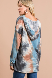 Bibi Tie Dye Hoodie with Contrast Stitching - Side cropped