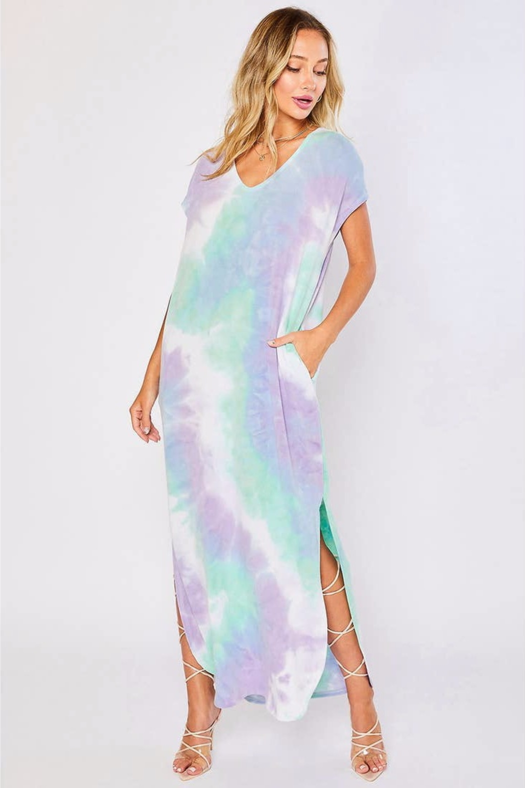 Bluivy Tie-Dye Jersey Maxi-Dress - Front Cropped Image