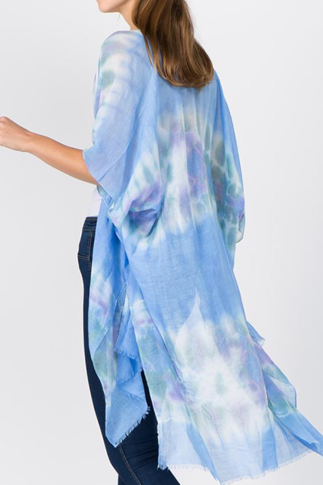 L.I.B. New York Tie-Dye Kimono/Cover Up - Side Cropped Image