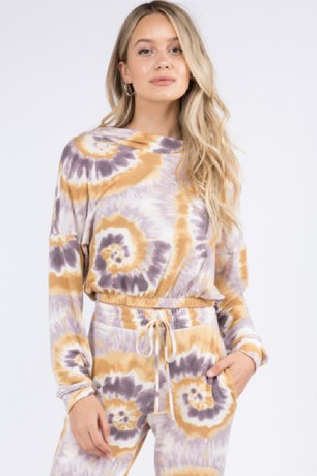 Whiteroom Cactus Tie Dye Knit Hoodie - Front Cropped Image