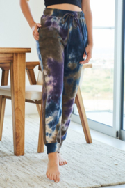 White Birch Tie Dye Knit Joggers with Pockets - Product Mini Image